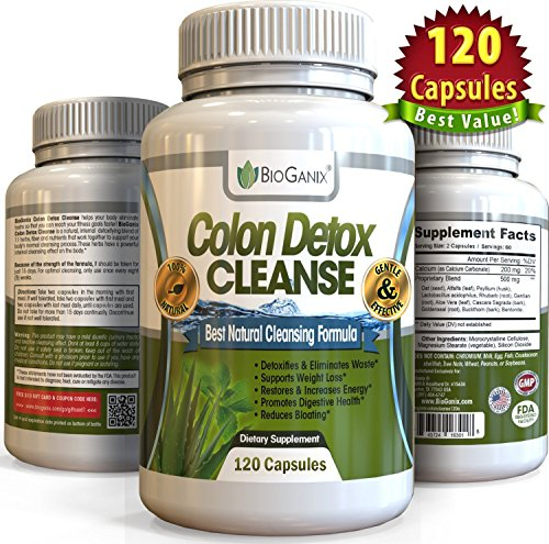 #1 Dual-Action COLON DETOX CLEANSE (120 Capsules) Best Ultimate Intensive  Herbal Supplement Formula for Weight Loss Support | Total Cleansing Flushes